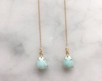 Amazonite Blue Threader Earring 14k Gold Fill