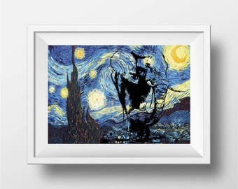 Starry night print, woodland nursery print, Elephant art print