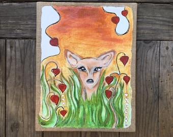 Roxer- The peaceful doe mixed media wall art piece