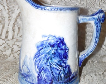 """Antique Sleepy Eye Indian 8"""" Pitcher Pottery Weir Monmouth? As Is"""