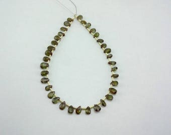 8-inch rare Natural Andalusite faceted pear3 size 5-6mm 16cts 7509