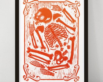 Rocker Skeleton - Linocut Print - Limited Edition Poster