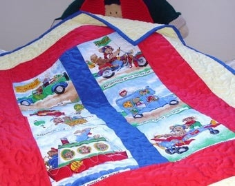 Hand made baby quilt,boys or girls quilt, warm and cuddly quilt, reversible quilt one of a kind,original design by kids knits 1.