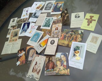 lot 30 antique religious card  reliquary St Josephe and child Jesus virgin mary Ste Benedicte 1910 to 1960s signed communion