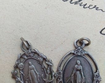 lot 2pcs rare French antique 19 century religious medal  sterling silver our lady lourdes gothic virgin mary sacred heart hollow medal