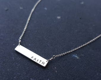Monogram personalized Sterling silver bar necklace