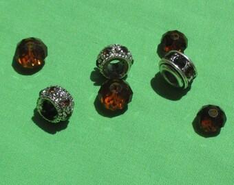 Lot Of Retro Topaz Colored Metal Rhinestone & Glass Salvaged Beads