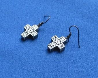 Retro Cross Textured Metal Dangling Pierced Earrings
