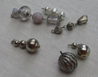 Lot Of Salvaged Silver Colored Grey Clear Beaded Dangles