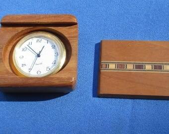 Vintage Inlaid Wood Non Working Quartz Clock Repair Repurpose
