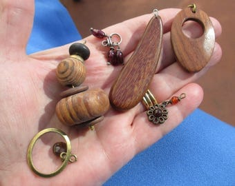 Lot Of Retro Salvaged Wood Composite Dangles & Beaded Dangles