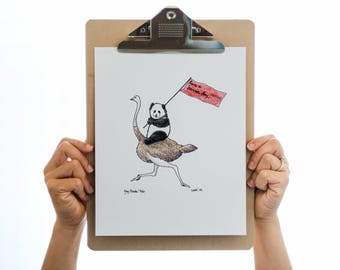 Hey, Panda! (Have a banner day!) - 8x10 Illustration Print