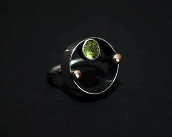 Peridot Sterling Silver and Bronze Ring