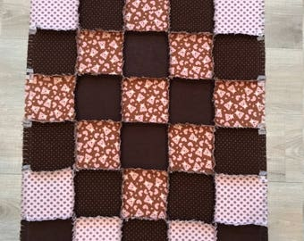 Flannel baby quilt, Baby blanket, Brown pink baby, shower, nursery, crib bedding, teddy bear quilt;10% of PP to charity of buyer's choice