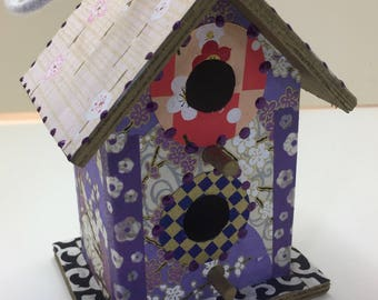 Colorfu Flower Washi Wooden Birdhouse Ornament