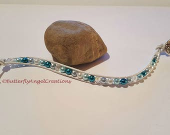 Ocean Wave Pearl and Leather Wrap Bracelet