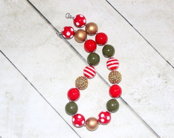 Christmas chunky bead necklace. Bubblegum beaded gold red olive green necklace. Poinsettia necklace. Holiday flower girl pearl rhinestone