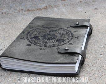 Gate of Time Sketch Journal 6x9 - 120 pages - Hand Bound - Laser Etched - Smoke Black - Legend of Zelda Skyward Sword