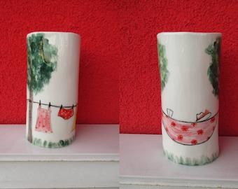 Summer Day Small Asymmetric Vase,Cute Vase,Pottery Vase,Colorful Home decor,Colorful Vase,Pink,Summer House Decor,Ceramic,Flower Vase