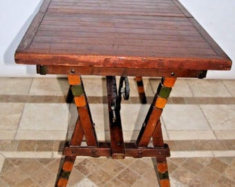 Rare Antique Dutch Pub Trestle Table Pop up leaf Solid Hardwood Hand forged Iron Insured safe nationwide shipping available
