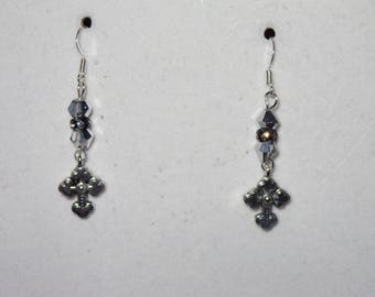 silver and black small cross earrings