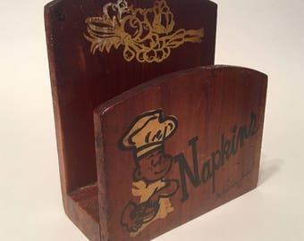 Vintage Wooden Napkin Holder- JP Deere Cedarcraft