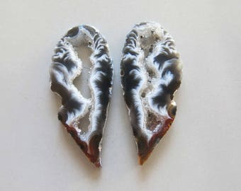 A Pair Natural Druzy Agate Geode Slices C5145