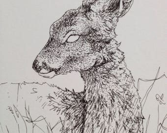 Original little dead-eyed deer drawing