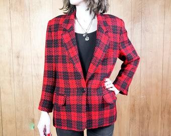 Buffalo Plaid Wool Blazer Red Black Punk Grunge Jacket for Women ~ Medium