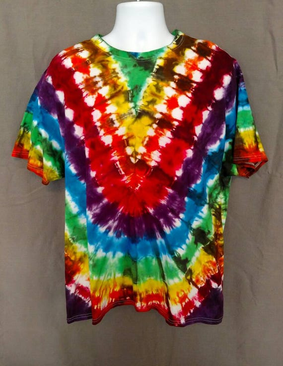 Rainbow V Tie Dye Shirt/Adult Tie Dye T-Shirt/Hand Dyed/Eco-Friendly Dying