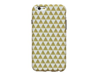 Gold and white triangles, phone case for an iPhone 6 or iPhone 6 Plus