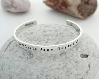 Hallmarked Silver Christening Bracelet - God Daughter Gift - God Son Gift - Personalised Christening Cuff - Childs Bracelet - Baptism