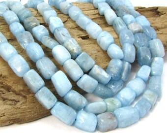 Blue Aquamarine Nuggets, Oval 16 inch Strand Aquamarine Beads, Aquamarine Gemstone Beads, Item 442gss