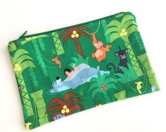 Jungle Book Makeup Bag, Makeup Pouch, Zipper Bag, Zipper Pouch, Pencil Pouch, Pencil bag