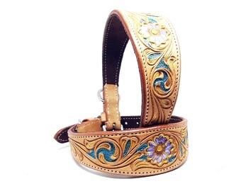 MadcoW Handmade Violet, Turquoise & Yellow Leather Western Hand Tooled Cowhide K9 Dog Canine Collar Fully Adjustable