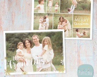 Christmas Card Template - Christmas Photo Card - Photoshop template - AC078 - INSTANT DOWNLOAD