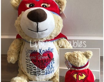 CHD heart surgery embroidered stuffed animal.  Choose from any in stock stuffie!