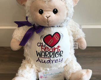 CHD heart warrior embroidered stuffed animal.  Choose from any in stock stuffie!