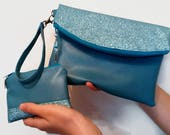 Turquoise Evening Bag Clutch Bag Bag and Purse Set Blue Clutch Bag Glitter Clutch Bag Faux Leather Bag Prom Bag Wrist Strap Swoon