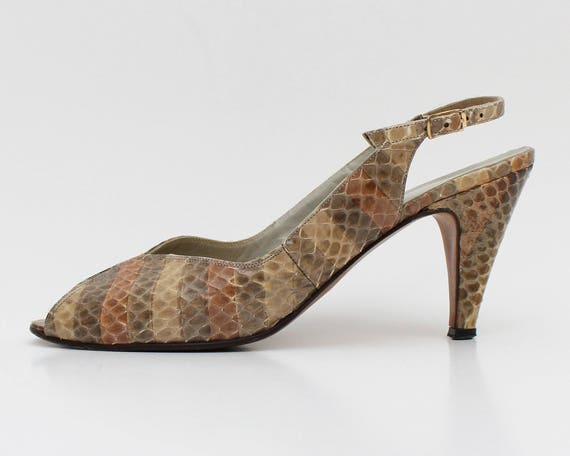 Snakeskin Peep Toe Sling Back High Heels - Vintage 1970s Charles Patou Neutral Striped Leather Pumps - Size 7
