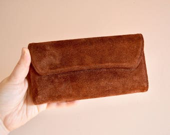 Vintage Chocolate Brown Suede Wallet, Retro 1970s Pocketbook, Genuine Leather