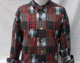 Vintage 1990s Tartan Check Ralph Lauren Long Sleeve Shirt Ralphie Lumberjack Patchwork Winter XL Oversized Reduced! Was 14.99 now 9.99!