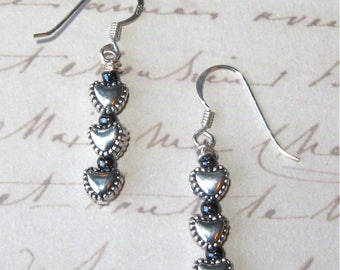 Petite Silverplated 6mm Heart Trio Dangle Earrings