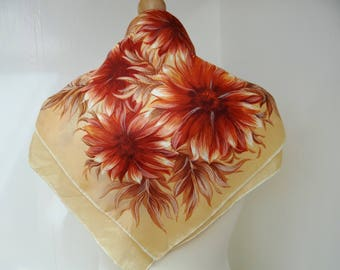 Vintage Scarf Brown Chrysanthemum Flower Pattern, Rayon Scarf, Circa 1960s