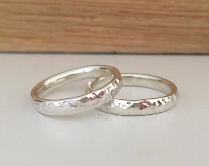 Hammered silver ring 3mm wide x