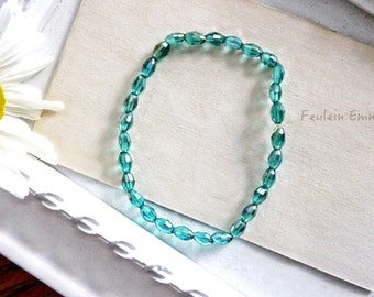 Bracelet DEEP SEA stretch Beanie turquoise glass beads aqua