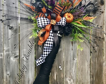 Halloween Wreath, Witch Boot Hanger, Witch Wreath, Halloween Decor, Halloween Door Hanger, Witch Decor