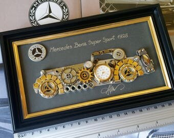 Mercedes Benz 1928 Code M 161 ,Steampunk Art, Gifts for Men, Luxury Gift, Wedding Gift, Office Decor, Home Decor, Wall Art, Christmas gifts