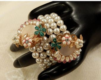 ON SALE Vintage Triple Strand Faux Pearls and Mother of Pearl Pink and Clear  Rhinestone Coil Bracelet