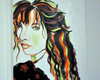 feminine, green, orange, portrait painting style pop art, contemporary, Acrylic paint